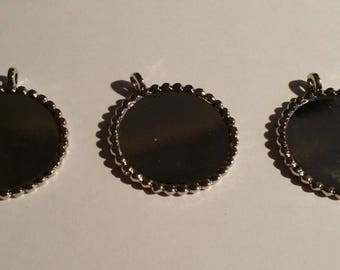 SUPPORTS for CABOCHONS silver round PENDANTS