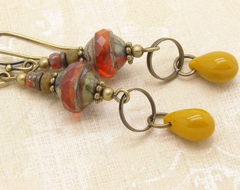 Orange and Yellow Boho Style Saucer Earrings with Rustic Glass Beads