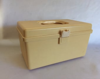 Vintage Plastic Sewing Box & Vintage Wilson Spool Storage Container Mustard Yellow Plastic ...