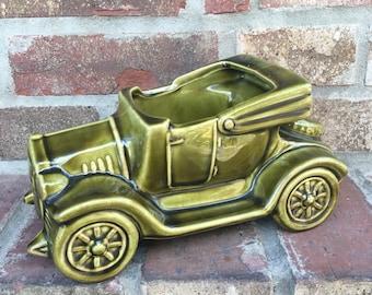 Vintage McCoy Pottery Old Jalopy Car Planter in Green