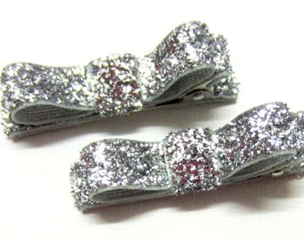 Set of 2 Silver Glitter Hair Clips, Glitter Hair Clips, no-slip clips, toddler girl hair clips, baby girl clips, international shipping