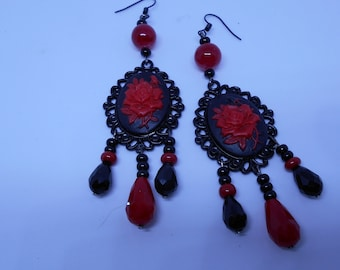 Red and black cameo Medallion earrings