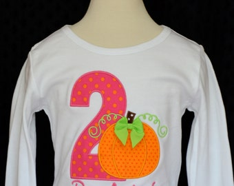 Personalized Birthday Fall Pumpkin Applique Shirt or bodysuit Girl or Boy