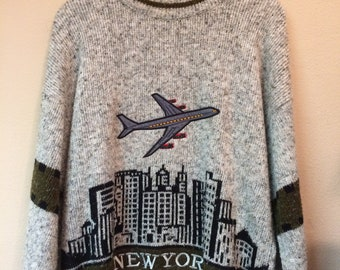 Knit sweater New York with skyline and airplane motif 48/50