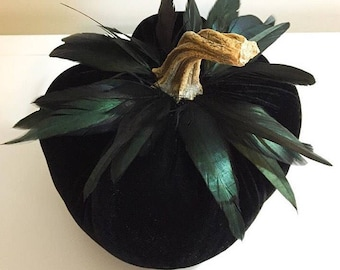 "8"" Black Velvet Pumpkins with Real Pumpkin Stems"