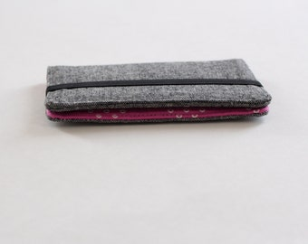 Gray and Pink Small Wallet; Charcoal Linen Slim Wallet; Pink Card Wallet - PREORDER