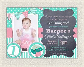 Girls 1st Birthday Invitation / First Birthday Cupcake  Invitation / Printable Download /  Pink Aqua Cupcake Invite / Digital Stripes (45)