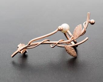 Rose gold earring, statement jewelry, elf ear cuf earring, leaf earring, elf jewelry, statement earring, flower earring, earcuff earring