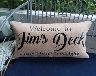 Outdoor Burlap Welcome Deck Porch dad's custom pillow