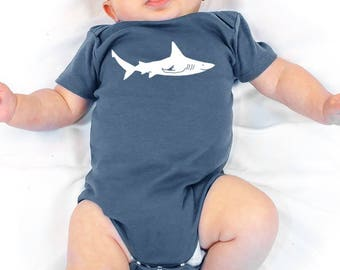 SHARK Baby Bodysuit, Organic Shark Baby Clothes, Hand Printed Infant Onepiece Baby Homecoming Outfit One piece Shower gift, Gift for Newborn