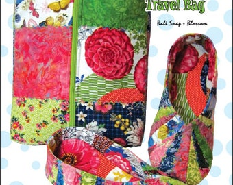 Snappy Slippers & Travel Case Pattern, make using 1 package of Bali Snaps or Charm Squares
