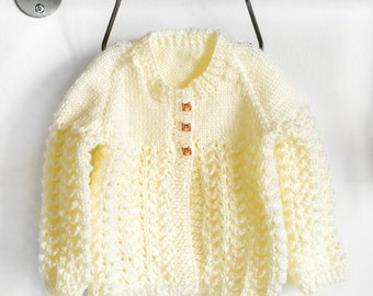 Knitted Yellow Matinee Coat, Baby Sweater, Baby Coat, Baby Cardigan, Matinee Sweater, Infant Matinee Sweater, Baby Knits