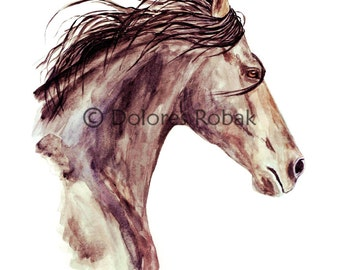 Watercolor Horse Painting Horse Art Print, Gift for Horse Lover, Horse Wall Art, Horse Gift, Equine Art, Bay Horse Print, Bay Horse Art