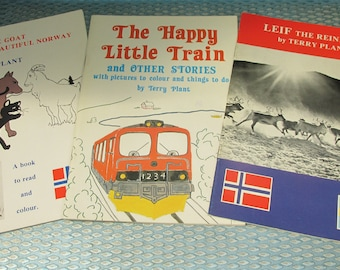 Three Vintage Children's Educational Books - Norway and Sweden Stories and Activities - English Text