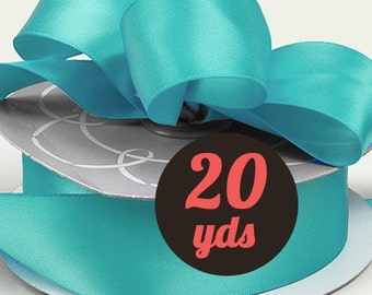 """Satin Turquoise Ribbon - 7/8"""" wide at 20 yards"""