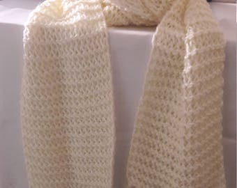 Off White Crochet scarf with Fringe