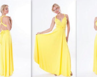 Bridesmaids dress Yellow Infinity Dress - floor length long straps in pastel yellow color wrap dress