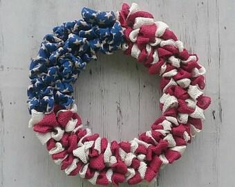 Patriotic Wreath, America, Flag, Stars and Stripes, Burlap Wreath, July 4th, Patriotic, Red, White, Blue, Americana, Wreath, Home Decor