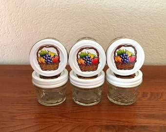 6 Ball Quilted Crystal Jelly Jars / 4 ounce Canning Jars / Jam Jars / Quilted Jelly Jars / Relish Jars / White Bands Decorative Lids
