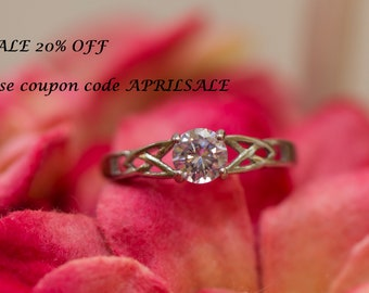 AB Crystal CZ Stainless Steel engagement Ring