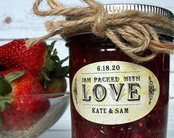 VINTAGE Oval Jam Packed With Love wedding jam jar labels, custom wedding favor stickers, bridal shower favors mason canning jar labels