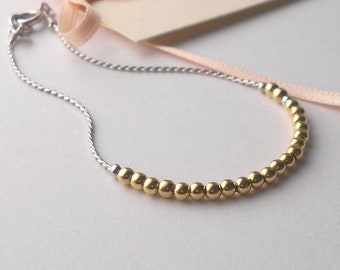 Minimal gold beaded bracelet, gold beaded bracelet for woman, minimal gold bracelet, silver beaded bracelet, minimal silver bracelet, silver