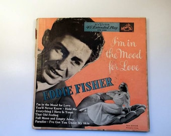 Vintage Records Eddie Fisher I'm In the Mood For Love 45 rpm set
