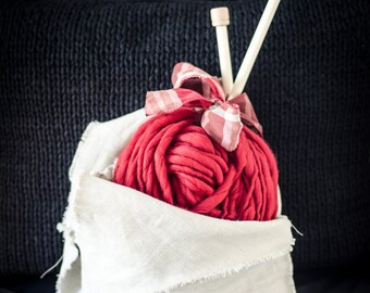 Knit Kit for scarf (red)