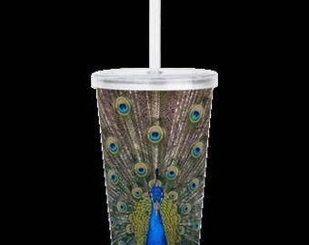 "Acrylic Double Wall Tumbler ""Peacock Splendor"""