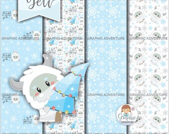 Christmas Digital Paper, Winter Digital Paper, Yeti Digital Paper, COMMERCIAL USE, Yeti Pattern, Monster Pattern, Abominable Snowman, Yeti