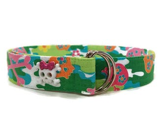 Girl's Skull and Crossbones Camouflage Fabric Belt