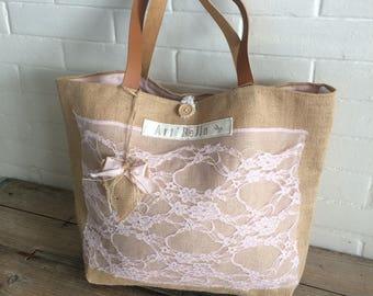 Fabric lined bag burlap vintage lace cotton leather handles