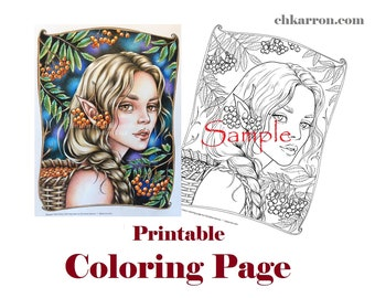 Coloring Page - Rowan Tree Fairy illustration Instant Download Printable File