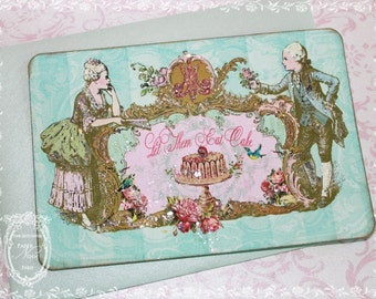 Marie Antoinette Let Them Eat Cake French Aqua or Pink Stationery or Invitation Set of 6