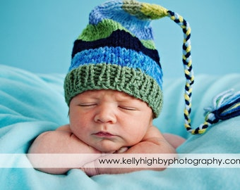 Newborn Knit Boy Hat BaBY PHoTO PRoP Blues Greens Stripes FCN Cap LoNG TaSSeL Stocking Cap SPoRTY BeANiE Choose Color CoMiNg HoME Pixie Hat