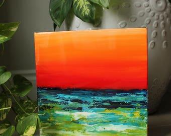 Original art, ocean art, abstract,resin finish, wall art, Sea art, acrylic