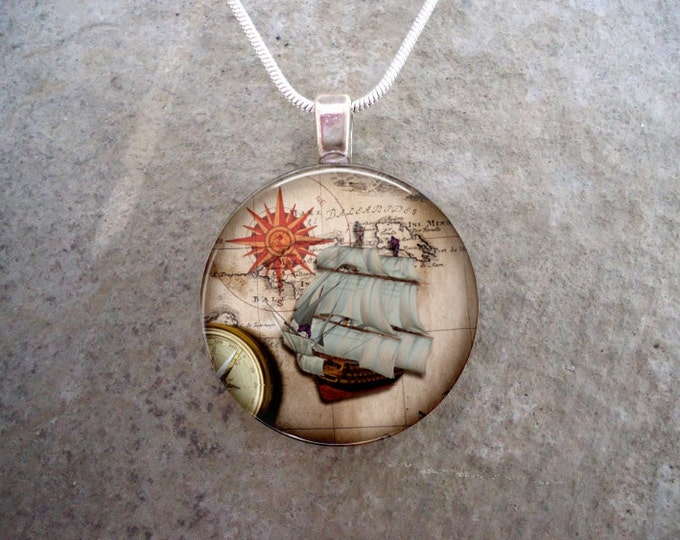 Pirate 23 - Pirate Ship Jewelry - Glass Pendant Necklace