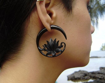 Fake gauge earrings ,Organic Black Horn ,tribal style, Split Gauge Earrings Fancy Lotus earrings,hand carved