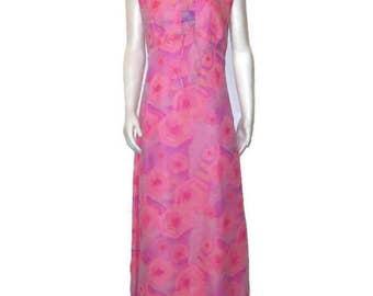 60s Maxi Dress MOD Pink Purple Dress Sleeveless Dress 1960s Formal Dress Pink Purple Gown Long Print Dress Made in Canada  Long Summer Dress