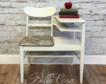 Telephone Bench, Gossip Bench, painted old white, entryway furniture, farmhouse decor, statement piece, chair, home decor, hand painted