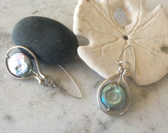 Sterling Silver and Blue Gray Coin Pearl Earrings