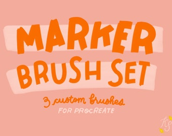 Procreate Brush // Marker Brush Set // Custom Flat & Round Tip // Made from Real Markers!