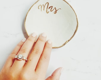 Mrs Ring Dish for Bride, Gold |  Ring Holder, Jewelry Dish, Wedding Gift