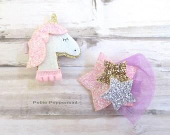 Unicorn Baby Hair Clip - Toddler Hair Clip - Baby Girl HairClip - Girl Hair Clip - Baby Barette - Girl Hair Bow - Baby Hair Bow Set