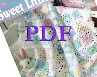 PDF - Sweet Little Ruffles, 1998, 5 crocheted baby afghan designs