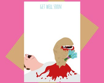 Alien wishes - Alien - Get well card - Funny get well card - 80s sci-fi