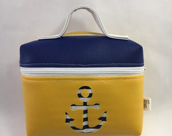 Box taste, anchor, blue yellow Navy and white faux leather and cotton, custom order, ideal for school, 2formats
