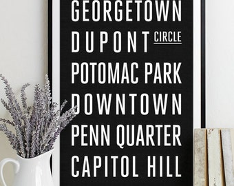 Washington DC Subway Sign Print Bus Roll City Poster