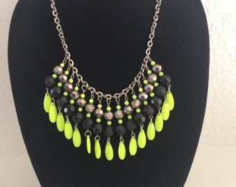 Yellow gray and black necklace