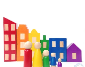 peg dolls, bold rainbow city blocks & peg doll set